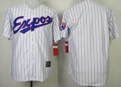 Montreal Expos Blank White Pinstripe Throwback Jersey