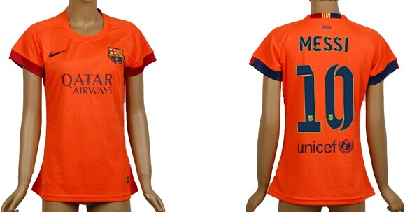 2014/15 FC Bacelona #10 Messi Away Soccer AAA+ T-Shirt_Womens