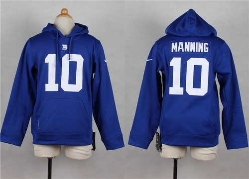 Nike New York Giants #10 Eli Manning Blue Kids Hoodie