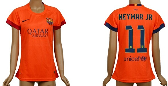 2014/15 FC Bacelona #11 Neymar Jr Away Soccer AAA+ T-Shirt_Womens