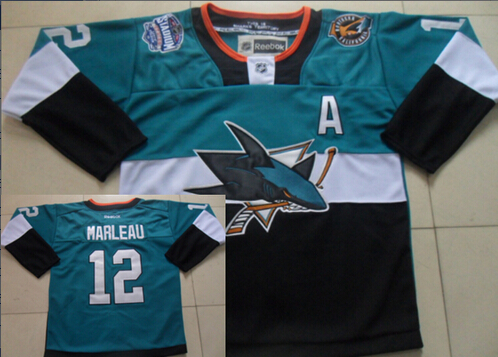 San Jose Sharks #12 Patrick Marleau 2015 Stadium Series Blue/Black Jersey