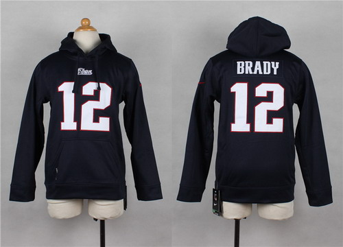 Nike New England Patriots #12 Tom Brady Blue Kids Hoodie
