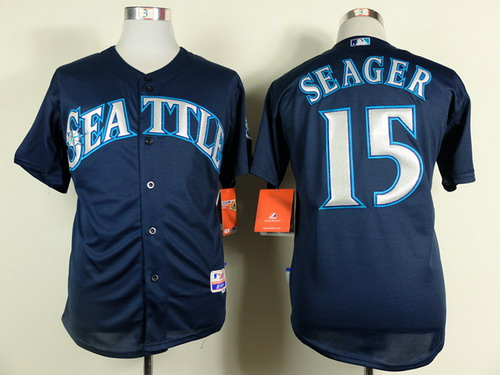 Seattle Mariners #15 Kyle Seager 2014 Navy Blue Jersey