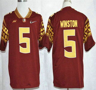 Florida State Seminoles #5 Jameis Winston 2015 Playoff Rose Bowl Special Event Diamond Quest Red Jersey