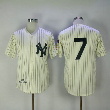 1951 Yankees #7 Mickey Mantle Cream Throwback Stitched Baseball Jersey