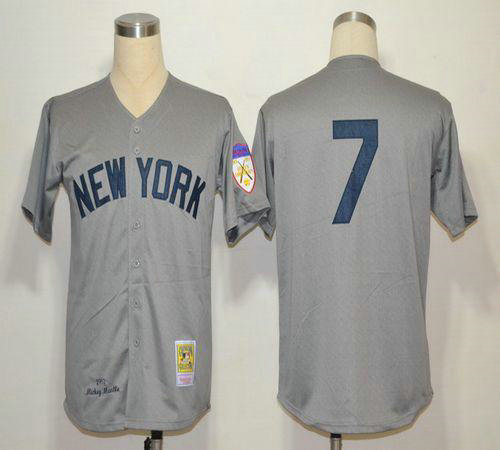 1951 Yankees #7 Mickey Mantle Grey Throwback Stitched Baseball Jersey