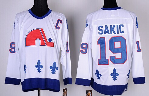 Quebec Nordiques #19 Joe Sakic White Throwback CCM Jersey