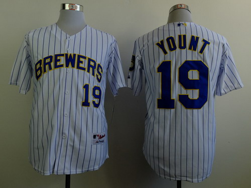 Milwaukee Brewers #19 Robin Yount White Pinstripe Jersey