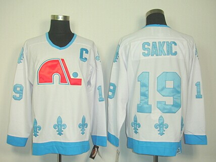 Quebec Nordiques #19 Joe Sakic White With Light Blue Throwback CCM Jersey