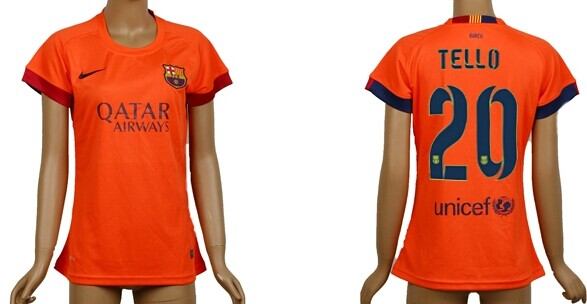 2014/15 FC Bacelona #20 Tello Away Soccer AAA+ T-Shirt_Womens