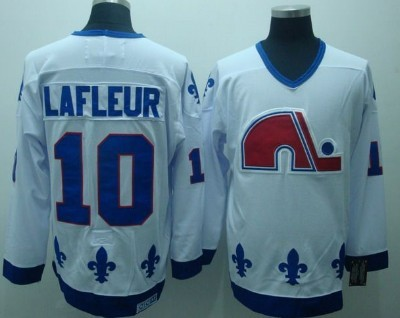 Quebec Nordiques #10 Guy Lafleur White Throwback CCM Jersey