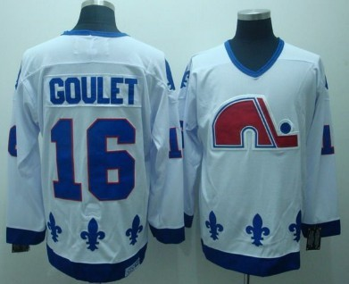 Quebec Nordiques #16 Michel Goulet White Throwback CCM Jersey