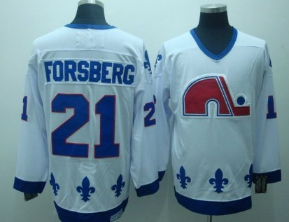 Quebec Nordiques #21 Peter Forsberg White Throwback CCM Jersey