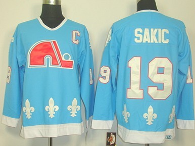 Quebec Nordiques #19 Joe Sakic Light Blue Throwback CCM Jersey