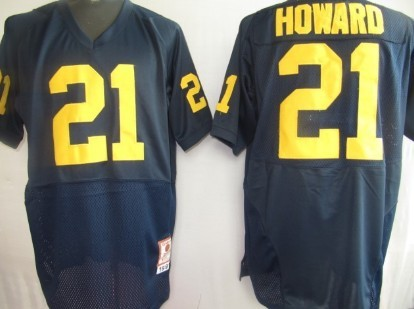 Michigan Wolverines #21 Howard Navy Blue Jersey