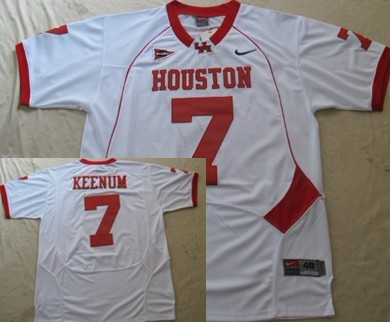 University of Houston #7 Case Keenum White Jersey