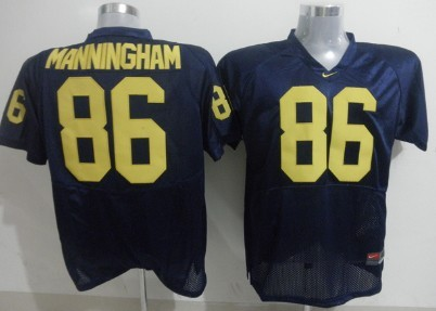 Michigan Wolverines #86 Manningham Navy Blue Jersey