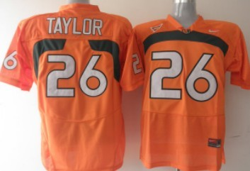 Miami Hurricanes #26 Taylor Orange Jersey
