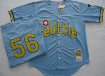 Seattle Pilots #56 Jim Bouton Light Blue Throwback Jersey