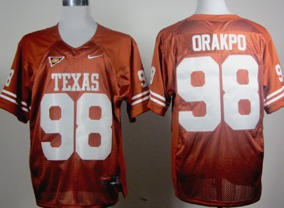 Texas Longhorns #98 Brian Orakpo Orange Jersey