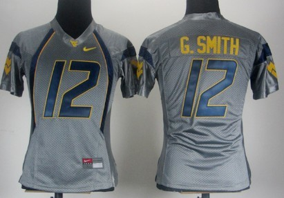 West Virginia Mountaineers #12 Geno Smith Gray Womens Jersey