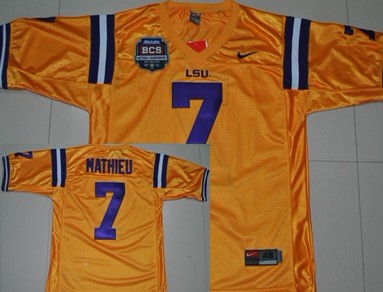 LSU Tigers #7 Tyrann Mathieu 2012 BCS Bowl Yellow Jersey