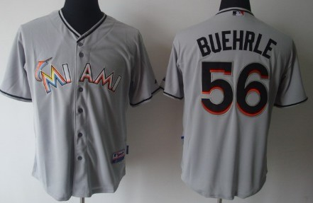 Miami Marlins #56 Mark Buehrle Gray Jersey