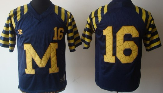 Michigan Wolverines #16 Denard Robinson  Navy Blue Throwback Jersey
