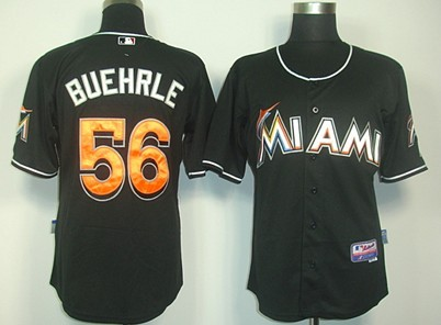 Miami Marlins #56 Mark Buehrle Black Jersey