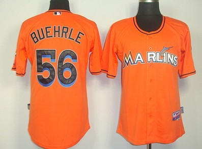 Miami Marlins #56 Mark Buehrle Orange Jersey