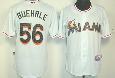 Miami Marlins #56 Mark Buehrle White Jersey