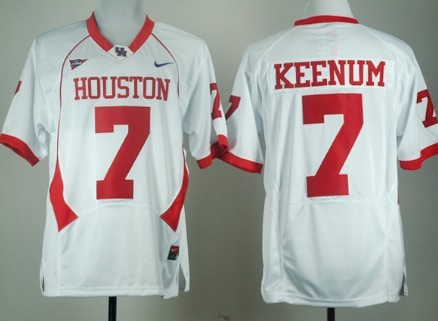 Houston Cougars #7 Case Keenum White Jersey