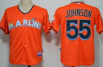 Miami Marlins #55 Josh Jonhson Orange Jersey