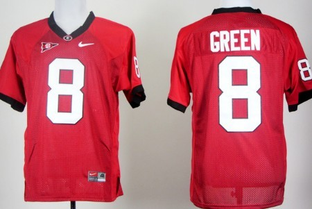 Georgia Bulldogs #8 A.J. Green Red Jersey