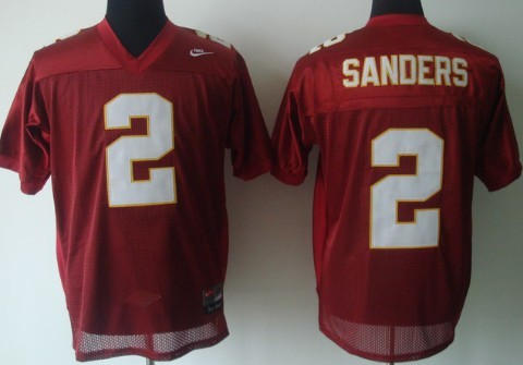 Florida State Seminoles #2 Deion Sanders Red Jersey