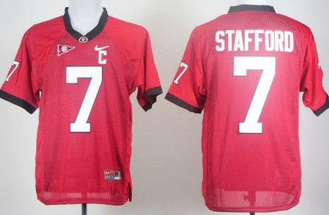 Georgia Bulldogs #7 Matthew Stafford Red C Patch Jersey