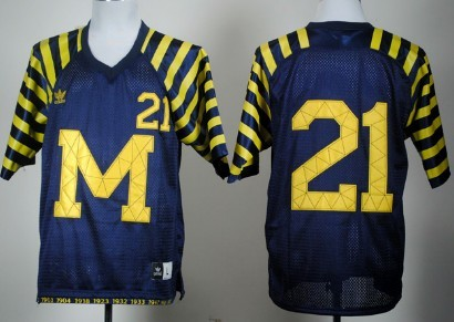 Michigan Wolverines #21 Desmond Howard Navy Blue Under The Lights Jersey
