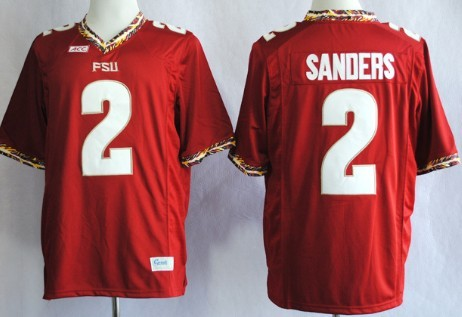 Florida State Seminoles #2 Deion Sanders 2013 Red Jersey