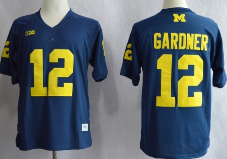 Michigan Wolverines #12 Devin Gardner Navy Blue Jersey