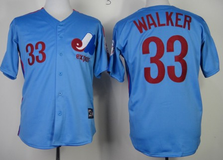 Montreal Expos #33 Larry Walker Blue Throwback Jersey