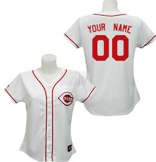 Women's Cincinnati Reds Customized White With Red Jersey
