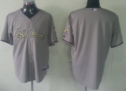 Miami Marlins Blank Gray With Camo Jersey