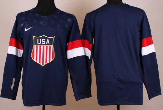 2014 Olympics USA Mens Customized Navy Blue Jersey