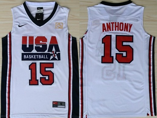 1992 Olympics Team USA #15 Carmelo Anthony White Swingman Jersey