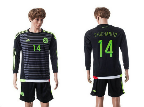 2015-2016 Mexico Soccer Jersey Uniform Home Black Long Sleeves #14 CHICHARITO