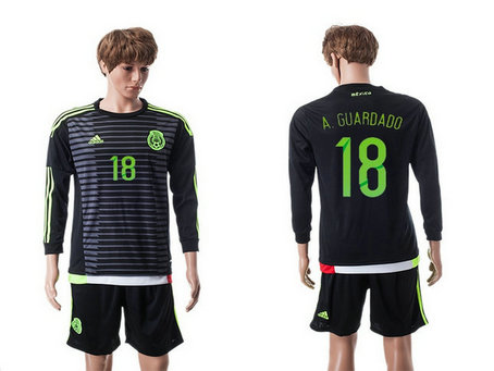 2015-2016 Mexico Soccer Jersey Uniform Home Black Long Sleeves #18 A.GUARDADO