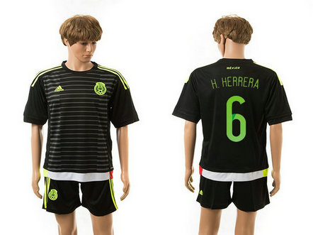 2015-2016 Mexico Soccer Jersey Uniform Home Black Short Sleeves #6 H.HERRERA