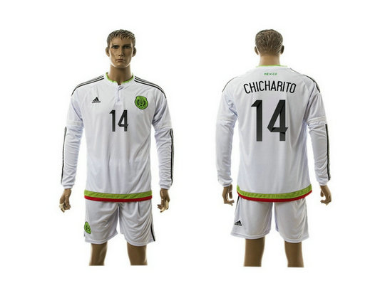 2015-2016 Mexico Soccer Jersey Uniform White Away Long Sleeves #14 CHICHARITO