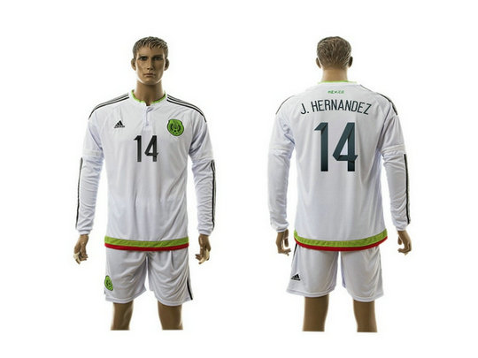 2015-2016 Mexico Soccer Jersey Uniform White Away Long Sleeves #14 J.HERNANDEZ