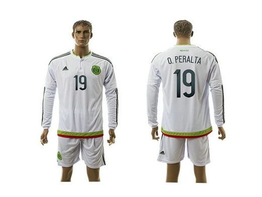 2015-2016 Mexico Soccer Jersey Uniform White Away Long Sleeves #19 O.PERALTA
